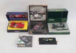 Box of assorted carsto include Minichamps Alfa Romeo Giulia, Minichamps model of a 7l Griffin,