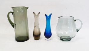 Whitefriars glass Geoffrey Baxter beak vase in blue colour-way together with a further Geoffrey