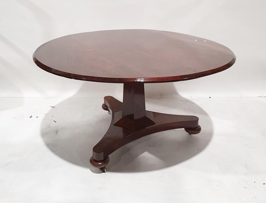 19th century mahogany circular breakfast tableon faceted column to triform base, bun feet to