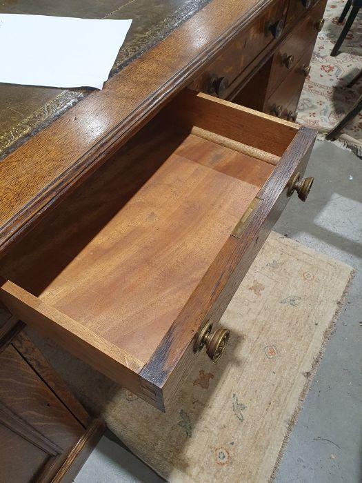 Edwardian oak partner's pedestal desk of large proportions, the rectangular gilt tooled leather - Image 16 of 26