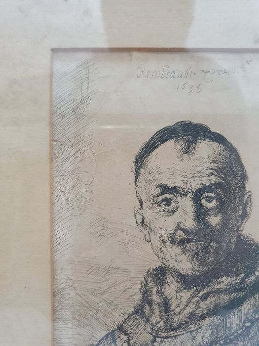 After Rembrandt van Rijn (Dutch - 1606-1669) Etching The First Oriental Head, signed and dated - Image 3 of 16