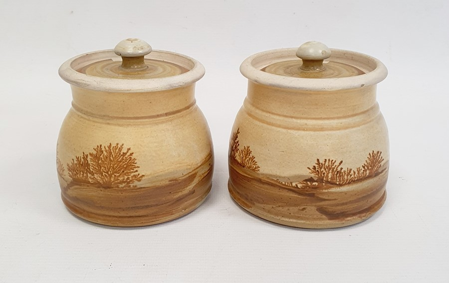 """Pair of Rupert Andrews """"Mocha"""" ware lidded preserve jars decorated with country landscapes, - Image 3 of 7"""