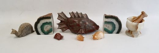 Carved hardstone fish ornament, a stained geode, a hardstone pestle and mortarand four other
