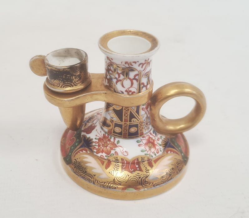 Spode chamberstick with snuffer circa. 1820, decorated in the Imari palette with cylindrical - Image 2 of 5