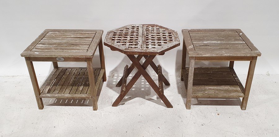 Two two-tier garden tablesand one folding garden table(3)