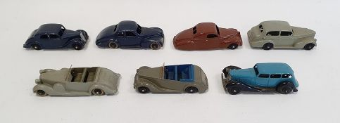 Seven assorted Dinky diecast model carsincluding a Lincoln Zephyr, a Riley Armstrong Siddeley