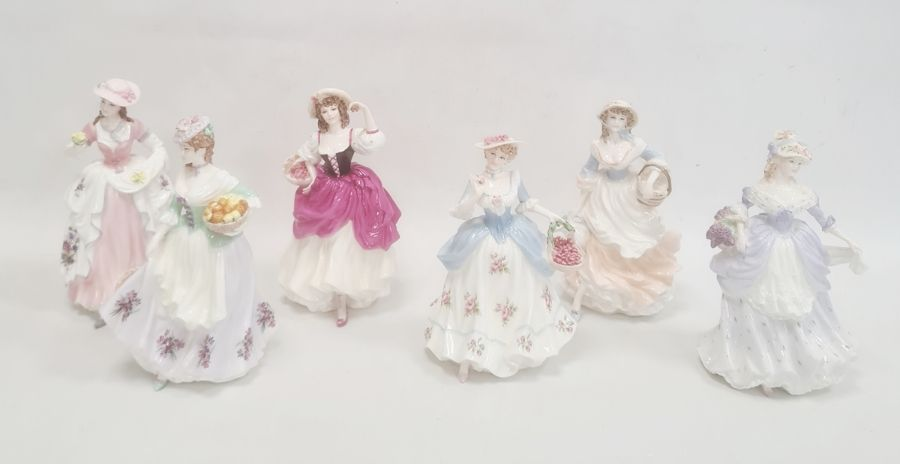 Collection of six Coalport Cries of London figurines to include 'The Flower Seller', 'Oranges and