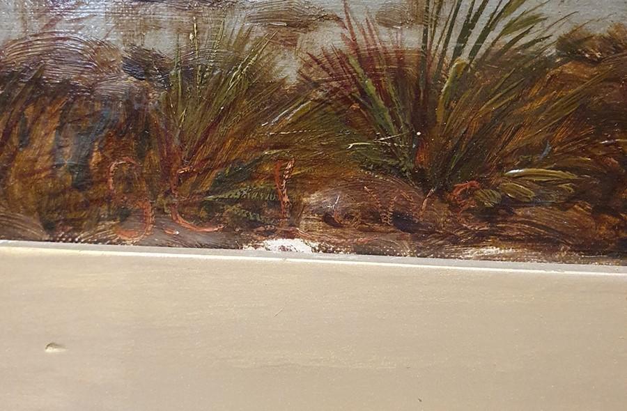 G E Lowe - British 19th century Oil on canvas Mountainous lake scene, 49.5 x 75cm - Image 3 of 3