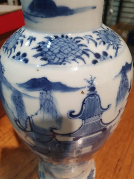 Chinese blue and white vaseof baluster form decorated with pagodas and lake scene, within a - Image 17 of 22