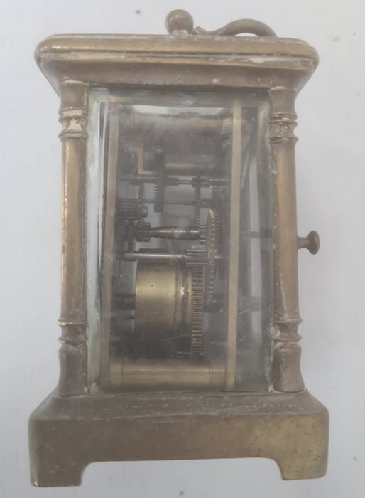 Brass and glass carriage clockwith Roman numerals to the dial - Image 7 of 10