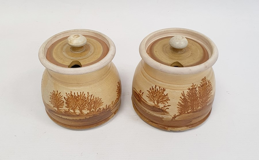 """Pair of Rupert Andrews """"Mocha"""" ware lidded preserve jars decorated with country landscapes, - Image 2 of 7"""