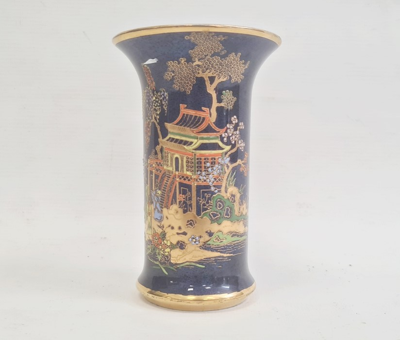 Carltonware pottery chinoiserie vase, the blue ground gilt and relief decorated with pagoda and - Image 5 of 8