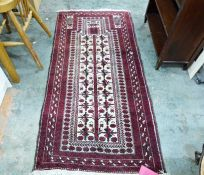 Eastern style rug with cream ground central panel, with Tree of Life pattern and three borders of
