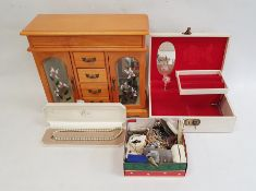 Assorted costume jewellery, a wooden and glazed jewellery cabinet, etc