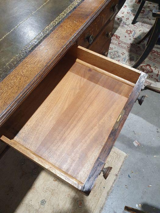 Edwardian oak partner's pedestal desk of large proportions, the rectangular gilt tooled leather - Image 17 of 26