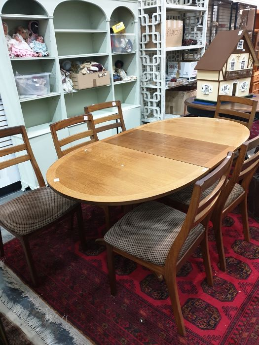 Nathan extending dining table, six chairs, lounge unitand telephone table(9) Condition ReportSome - Image 5 of 5