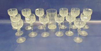 Set of fourteen Stuart cut glass hock glasses together with a glass vase