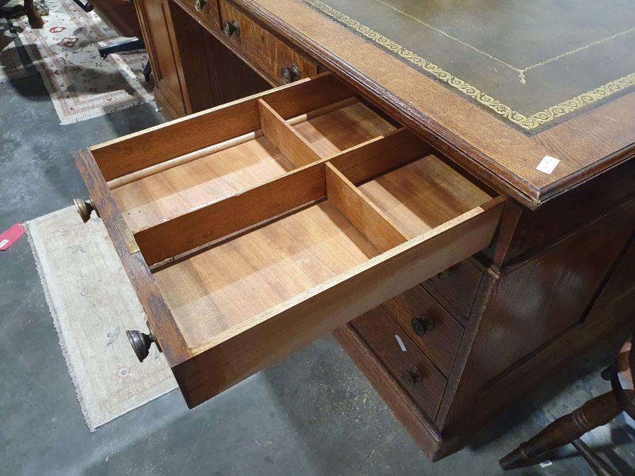 Edwardian oak partner's pedestal desk of large proportions, the rectangular gilt tooled leather - Image 26 of 26