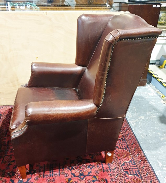 20th century brown leather wing-back office armchairon tapering supports - Image 3 of 3