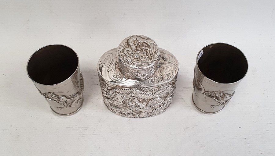 Chinese white metal tea canisterof oval form, decorated with dragons in relief, unmarked, 11cm high - Image 2 of 7