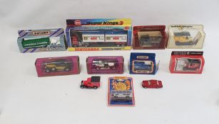 Assorted boxed models including Superkings Matchbox Scammell Crusader container truck, Britains