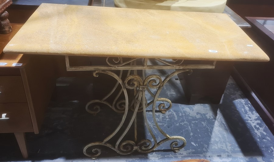 Hall tablewith yellow stone top, on white painted iron base, 108cm x 75cm