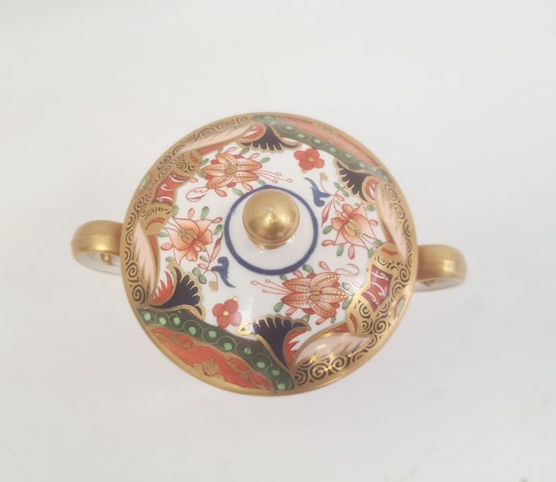 Spode two handled cup and cover, circa. 1820 of tapering form with scroll handles decorated in the - Image 2 of 8