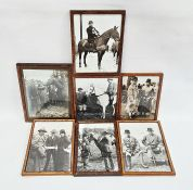 Set of seven early 20th century black and white photos of figures at a country show, some on
