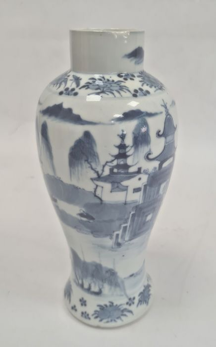 Chinese blue and white vaseof baluster form decorated with pagodas and lake scene, within a - Image 4 of 22
