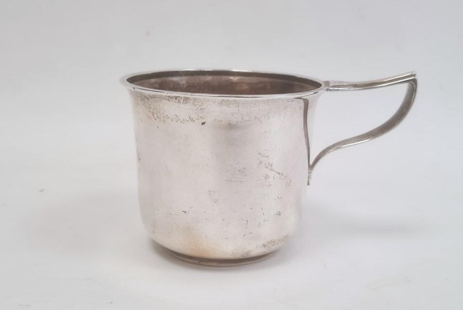 Silver mug by Horace Woodward & Co Ltd, Birmingham 1918, of plain form with engraved inscription