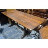 20th century oak refectory-type dining tablewith rectangular top, 182cm long Condition