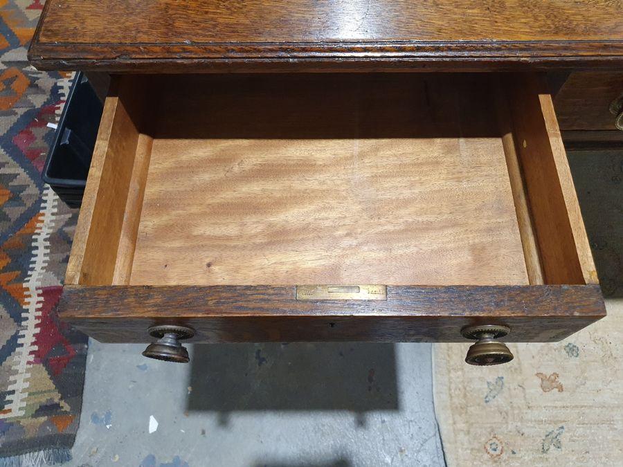Edwardian oak partner's pedestal desk of large proportions, the rectangular gilt tooled leather - Image 15 of 26