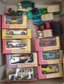 Box of model carsto include boxed Matchbox vehicles, Corgi Classics Rolls Royce, etc
