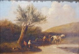 British school (19th century) Oil on canvas Figures with a horse dragging a log, 35cm x 52cm with