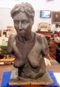 Katharine J Miller B.F.A half-length plaster sculptureof a female nude, with bronze-effect