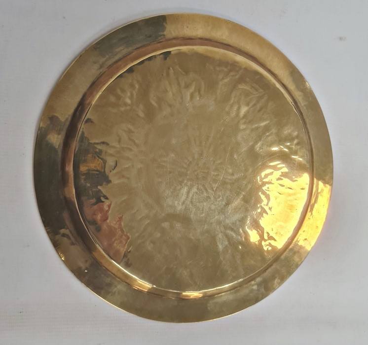 Middle Eastern brass dishof circular form with inlaid copper and silvered decoration, 24.5cm - Image 2 of 2
