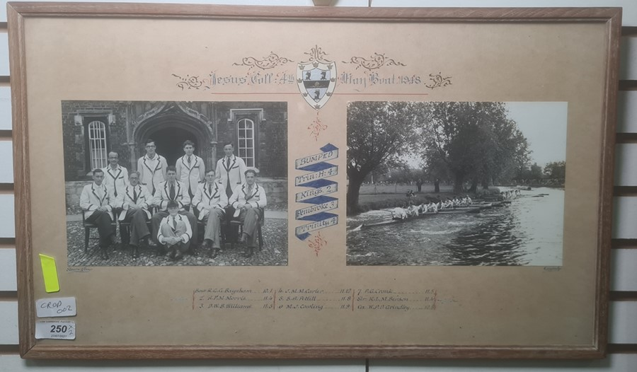 Framed photograph 'Jesus Coll. 4th May Boat 1948' Cambridge boat race with photographs, framed - Image 2 of 4