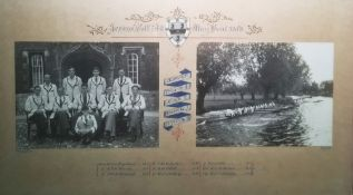Framed photograph 'Jesus Coll. 4th May Boat 1948' Cambridge boat race with photographs, framed