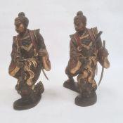 Pair of Japanese bronze figuresof warriors after Miyao Eisuke of Yokohama holding multiple