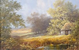 Noel Ripley Oil on canvas Stone hut beside pond, signed, 18.5cm x 28cm
