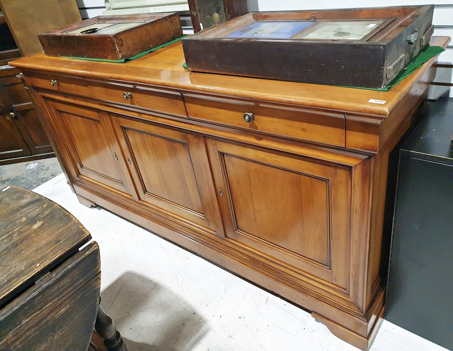 20th century modern cherry French sideboard, the rectangular top above three drawers, three cupboard - Image 2 of 2