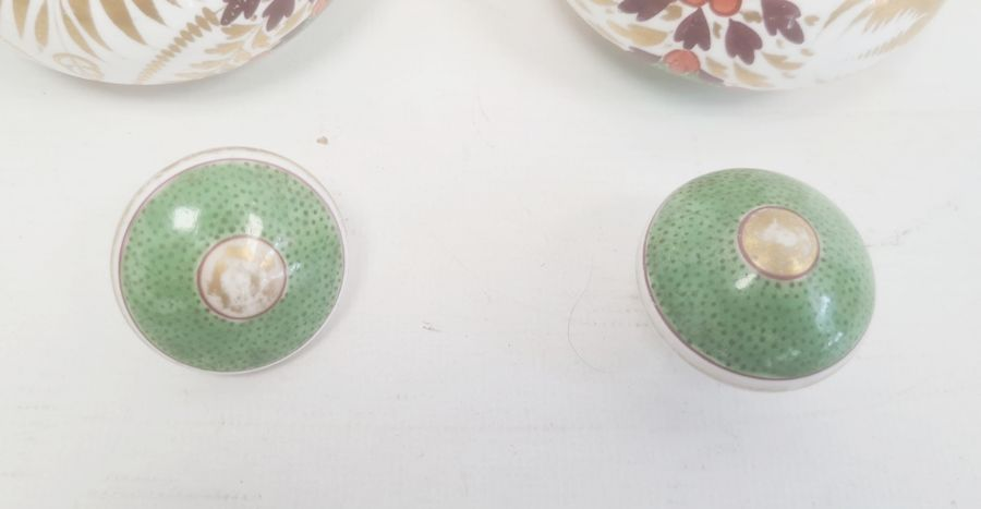 Pair of Spode bottles and covers circa. 1820, the necks with moulded decoration of a bird and the - Image 3 of 5