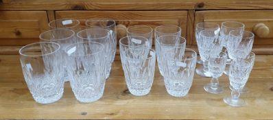 Set of Waterford, viz:- six cut glass tumblers, amatching set of six smaller cut glass tumblersand