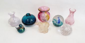 Collection of glass to include three Caithness vases, a Caithness paperweight, a Nachtmann polar