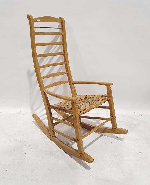Shaker style ladderback rocking chairwith woven seat