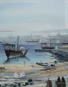 Taha Elgamal - 20th century Oil on board Persian river scene with ships in a harbour, signed lower