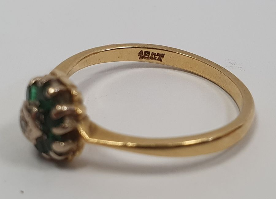 **** WITHDRAWN **** Green and white stone cluster ring, marked 18ct, finger size M, approx. - Image 3 of 3