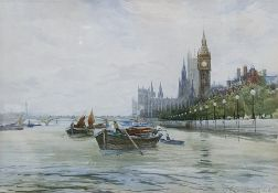 Charles J. Lauder (1841-1920) Pair of watercolours The Houses of Parliament and St. Paul's from