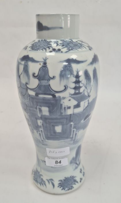 Chinese blue and white vaseof baluster form decorated with pagodas and lake scene, within a - Image 3 of 22