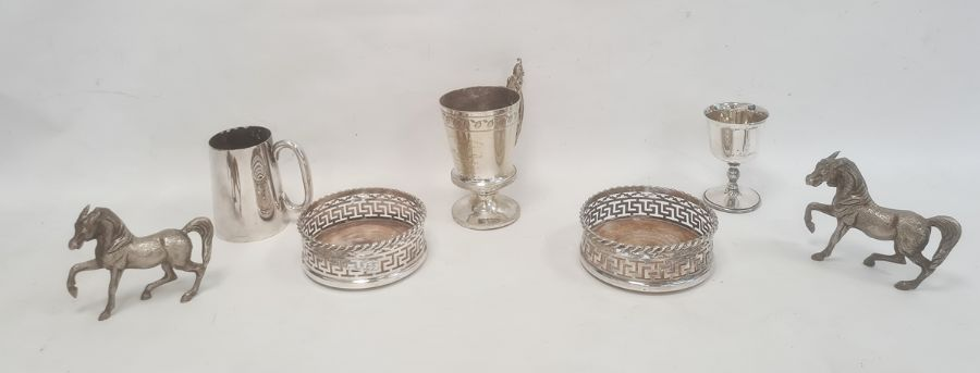 **** WITHDRAWN ***** Pair of silver plated wine coasterswith pierced Greek key decoration and